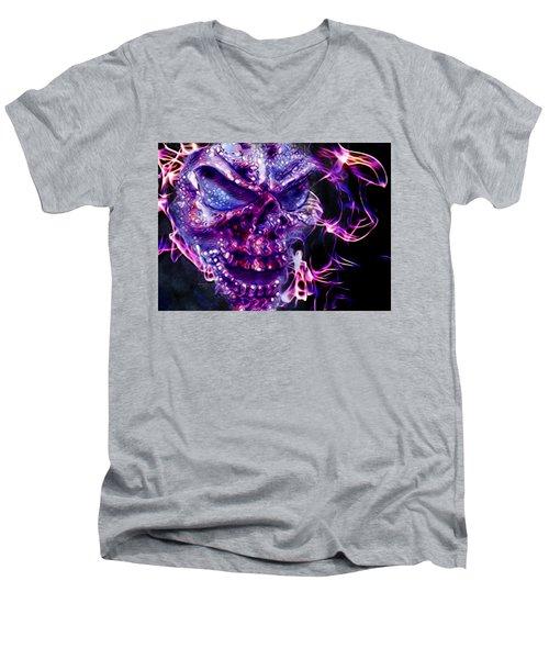 Flaming Skull Men's V-Neck T-Shirt