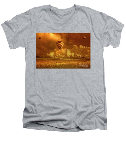 Men's V-Neck T-Shirt featuring the photograph Flaming Sky by Charuhas Images