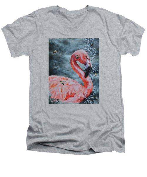 Flamingo And Bees Men's V-Neck T-Shirt