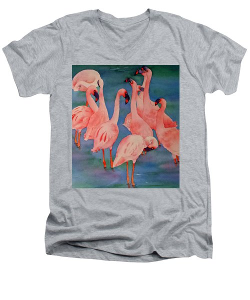 Flamingo Convention In The Square Men's V-Neck T-Shirt by Judy Mercer