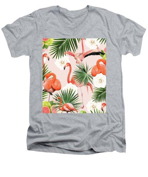 Flamingo Guava Men's V-Neck T-Shirt