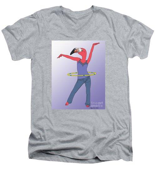 Men's V-Neck T-Shirt featuring the digital art Flamingo Hoop by Megan Dirsa-DuBois