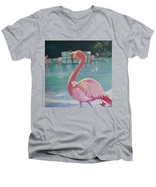 Flamingo Men's V-Neck T-Shirt by Julie Todd-Cundiff