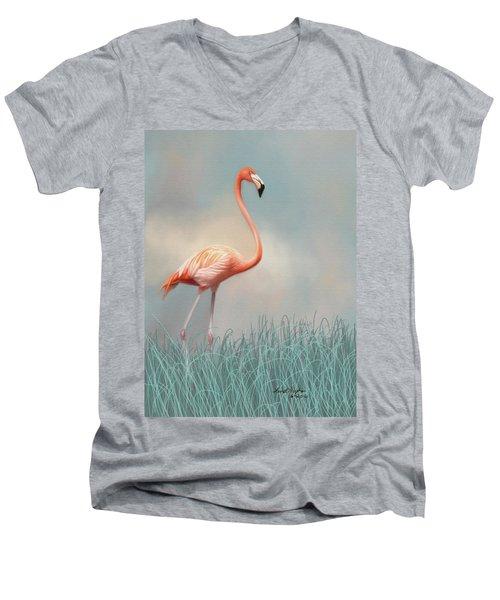Flamingo Men's V-Neck T-Shirt by Lena Auxier