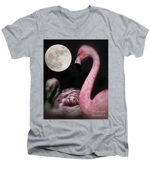 Flamingo Moon  Men's V-Neck T-Shirt