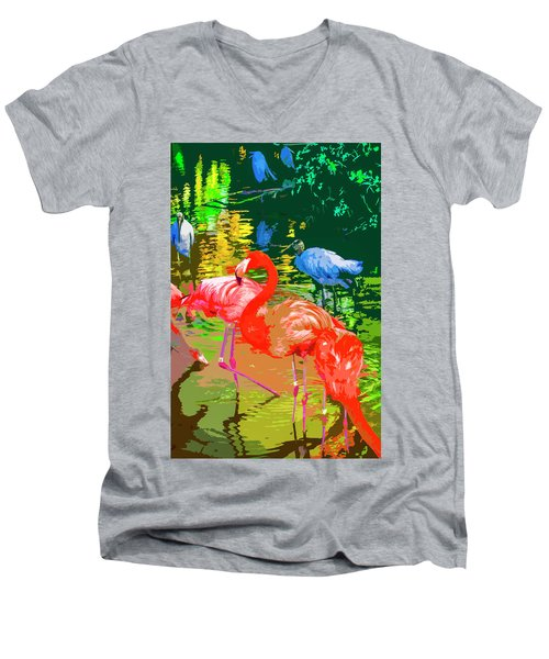 Flamingo Time Men's V-Neck T-Shirt