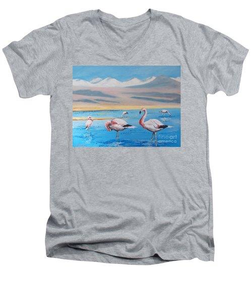 Flamingos Men's V-Neck T-Shirt