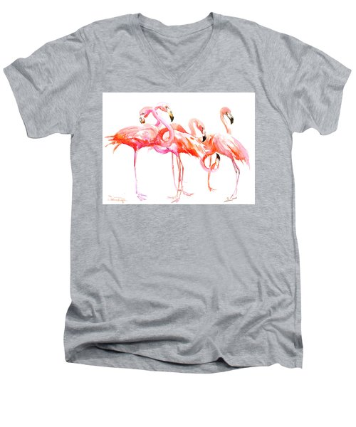 Flamingos Men's V-Neck T-Shirt