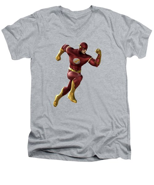 Men's V-Neck T-Shirt featuring the mixed media Flash Splash Super Hero Series by Movie Poster Prints