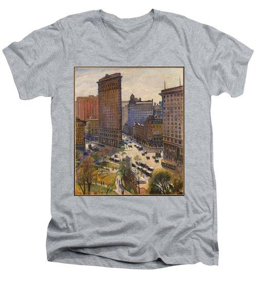 Men's V-Neck T-Shirt featuring the painting Flatiron Building New York By Samuel Halpert by Samuel Halpert