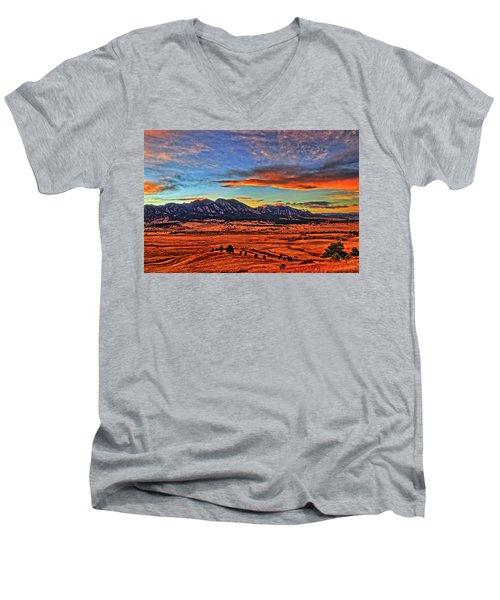 Men's V-Neck T-Shirt featuring the photograph Flatiron Sunset Fire Red by Scott Mahon