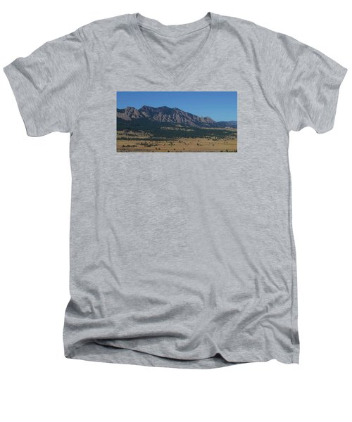 Men's V-Neck T-Shirt featuring the photograph Flatirons Of Boulder by Christopher Kirby
