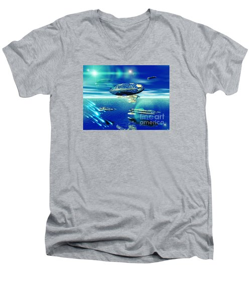 Men's V-Neck T-Shirt featuring the digital art Fleet Aqua by Jacqueline Lloyd