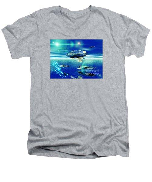 Fleet Aqua Men's V-Neck T-Shirt