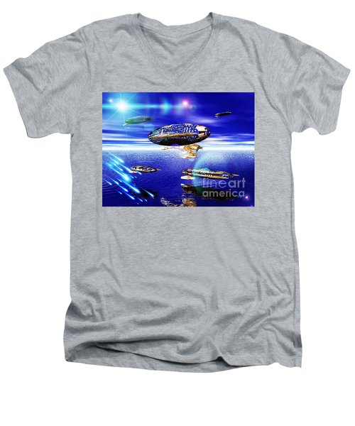 Men's V-Neck T-Shirt featuring the digital art Fleet Lomo by Jacqueline Lloyd