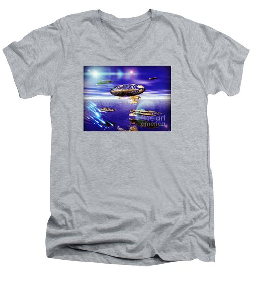 Men's V-Neck T-Shirt featuring the digital art Fleet Tropical by Jacqueline Lloyd