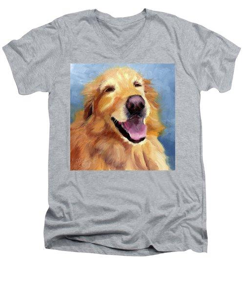 Fletcher Laughing Men's V-Neck T-Shirt by Alice Leggett