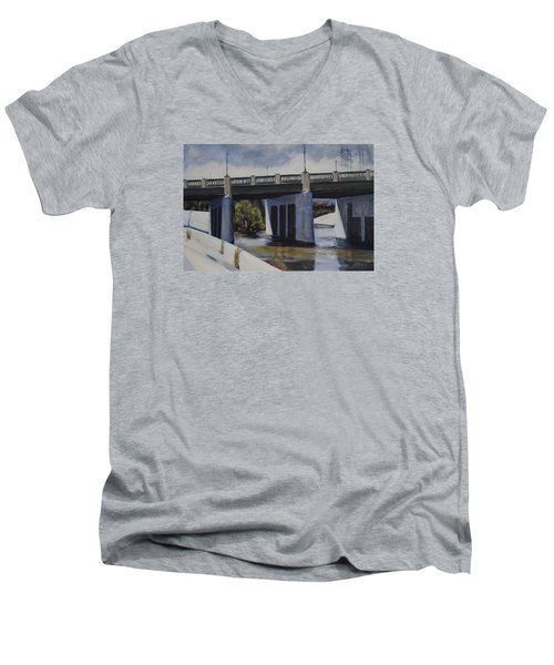 Fletcher Street Bridge Men's V-Neck T-Shirt by Richard Willson