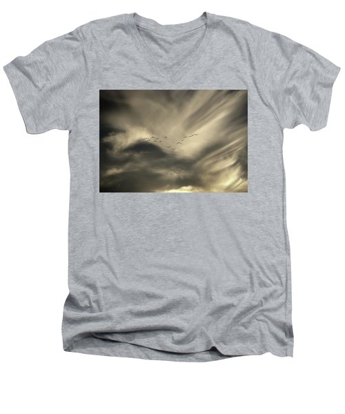 Men's V-Neck T-Shirt featuring the photograph Flight 016 Westbound by Robert Geary