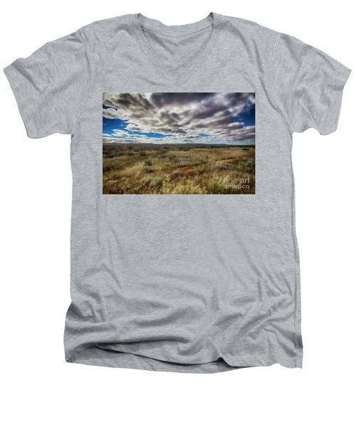 Men's V-Neck T-Shirt featuring the photograph Flinders Ranges Fields  by Douglas Barnard
