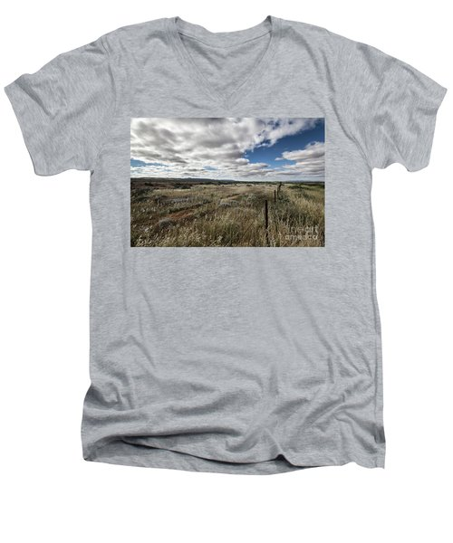 Men's V-Neck T-Shirt featuring the photograph Flinders Ranges Fields V2 by Douglas Barnard