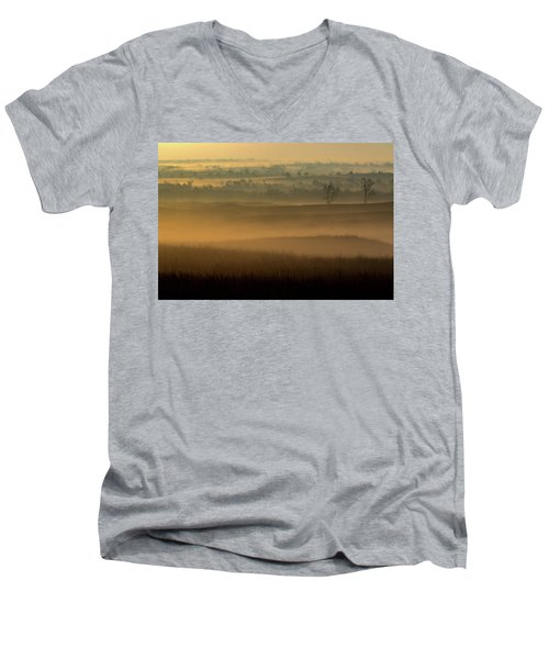 Flint Hills Sunrise Men's V-Neck T-Shirt