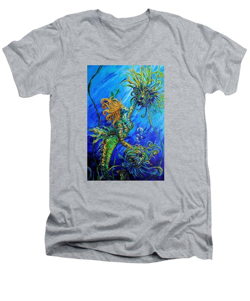 Floating Blond Mermaid Men's V-Neck T-Shirt