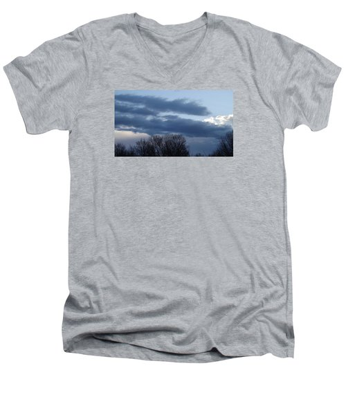 Men's V-Neck T-Shirt featuring the photograph Floating Blue Clouds by Don Koester