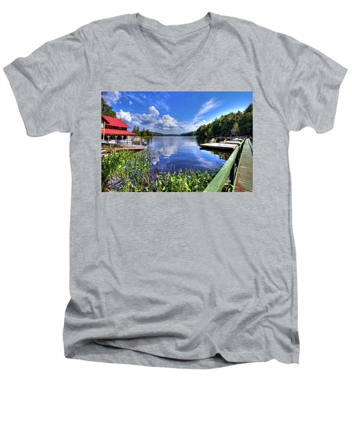 Men's V-Neck T-Shirt featuring the photograph Floating Bridge At Covewood by David Patterson