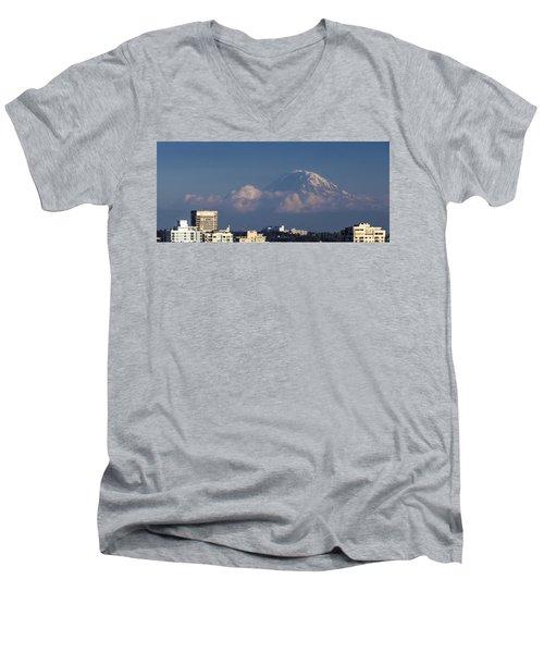Floating Mountain Men's V-Neck T-Shirt by Ed Clark