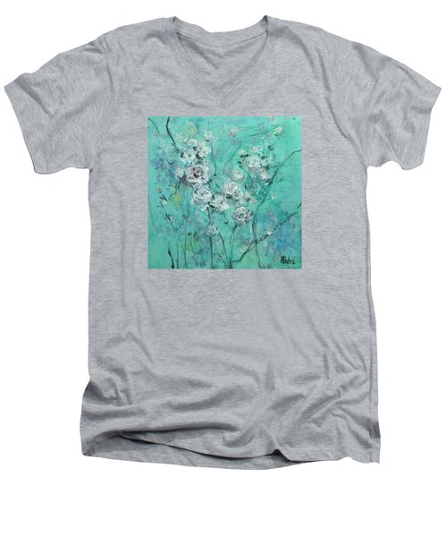 Floating Roses Painting Men's V-Neck T-Shirt