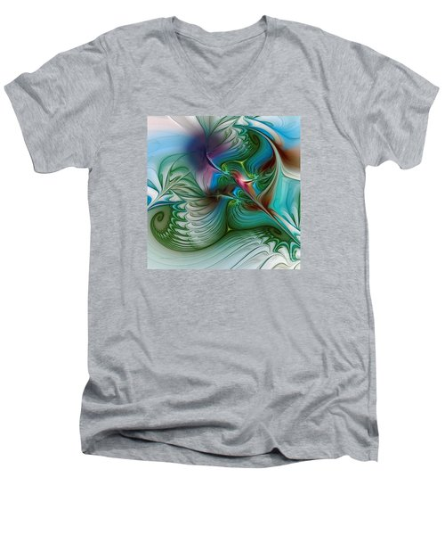 Men's V-Neck T-Shirt featuring the digital art Floating Through The Abyss by Karin Kuhlmann