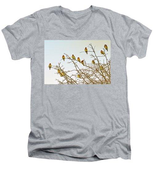Flock Of Cedar Waxwings  Men's V-Neck T-Shirt by Geraldine Scull