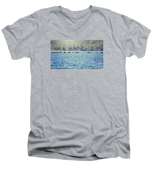 Men's V-Neck T-Shirt featuring the photograph Flock Of Geese by Janie Johnson