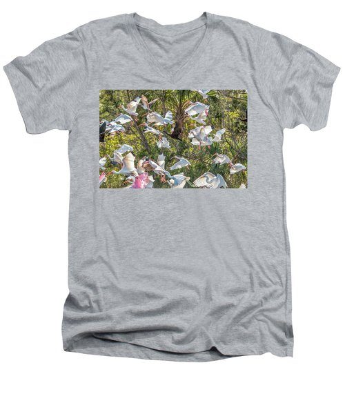 Flock Of Mixed Birds Taking Off Men's V-Neck T-Shirt