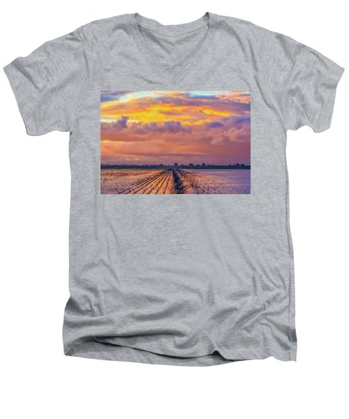 Flooded Field At Sunset Men's V-Neck T-Shirt
