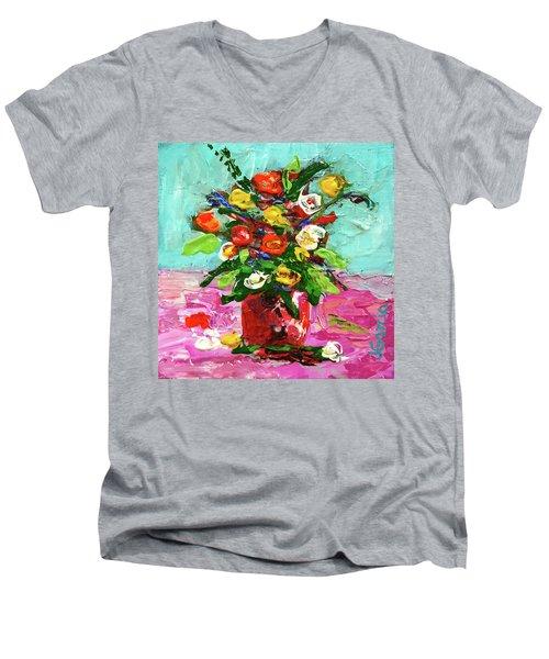 Floral Arrangement Men's V-Neck T-Shirt by Janet Garcia