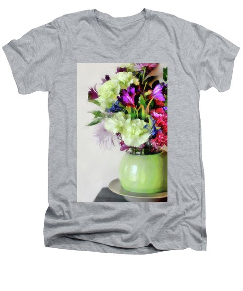 Floral Bouquet In Green Men's V-Neck T-Shirt