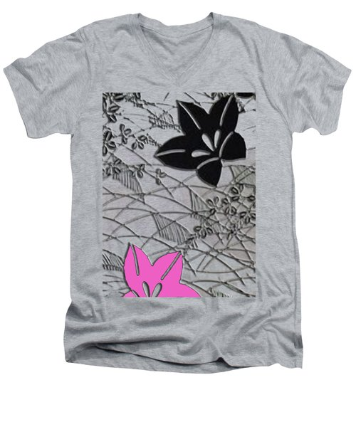 Floral Chirimen Men's V-Neck T-Shirt by Asok Mukhopadhyay