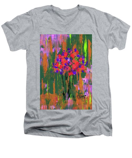 Men's V-Neck T-Shirt featuring the painting Floral Impresions by P J Lewis