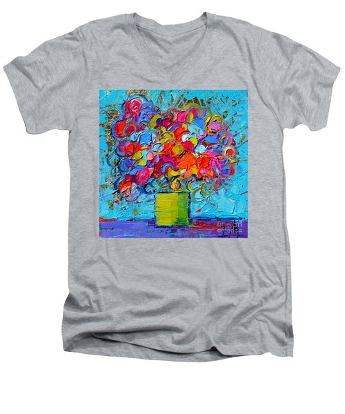 Floral Miniature - Abstract 0415 Men's V-Neck T-Shirt