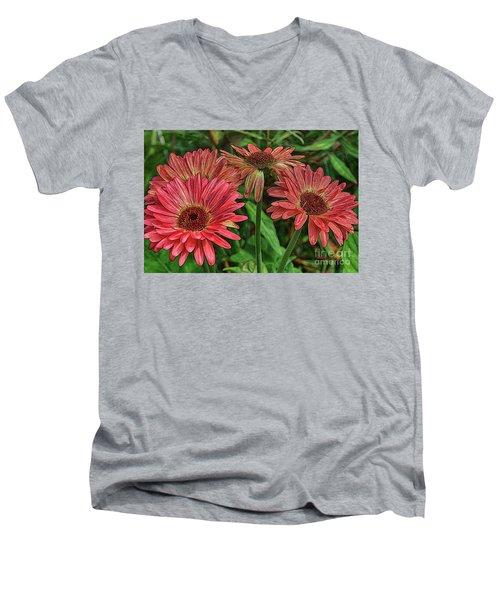 Men's V-Neck T-Shirt featuring the photograph Floral Pink by Deborah Benoit