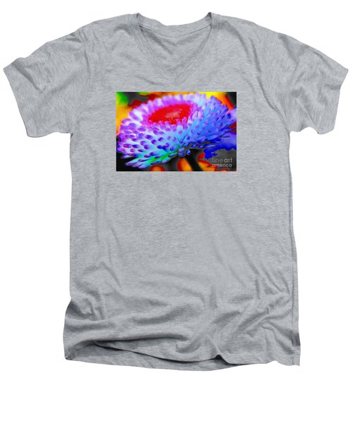 Floral Rainbow Splattered In Thick Paint Men's V-Neck T-Shirt