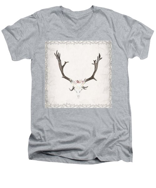 Floral Reindeer Skull  Men's V-Neck T-Shirt