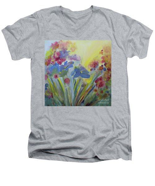 Men's V-Neck T-Shirt featuring the painting Floral Splendor by Stacey Zimmerman