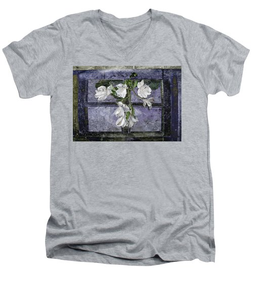 Men's V-Neck T-Shirt featuring the photograph Floral Window Frame by Bonnie Willis
