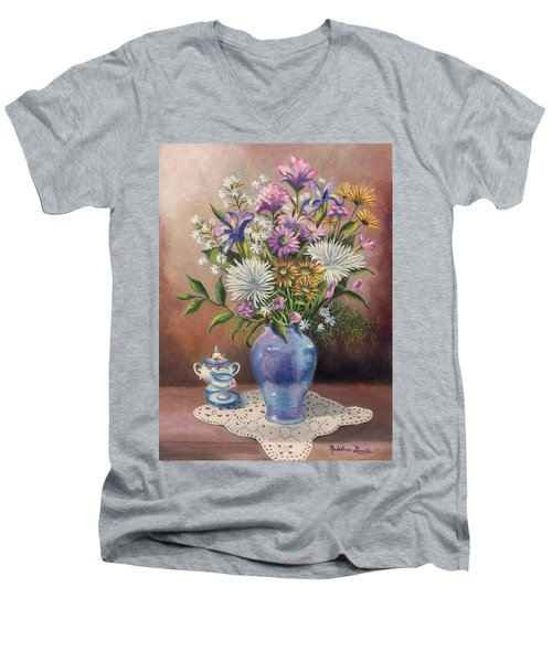 Floral With Blue Vase With Capadamonte Men's V-Neck T-Shirt