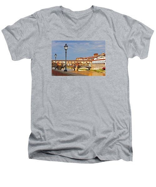 Florence Arno River View Men's V-Neck T-Shirt by Dennis Cox WorldViews