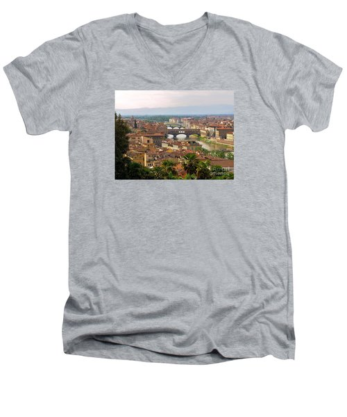 Men's V-Neck T-Shirt featuring the photograph Florence Bridges by Haleh Mahbod