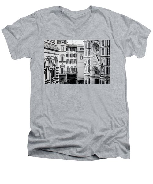 Men's V-Neck T-Shirt featuring the photograph Florence Italy View Bw by Joan Carroll